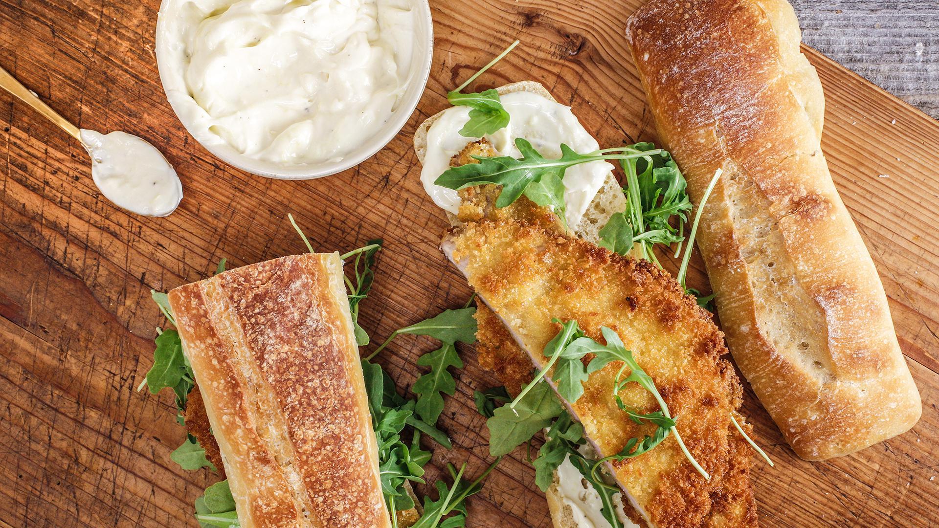 Pork Schnitzel Sandwich With Garlicky Mayo Rachael Ray Show