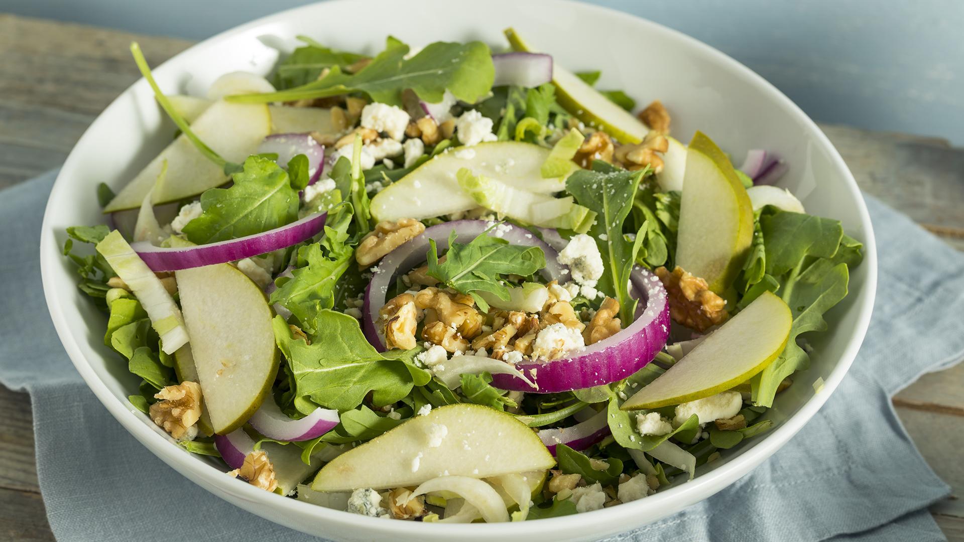 Escarole Salad Pears Blue Cheese Recipe Rachael Ray Show