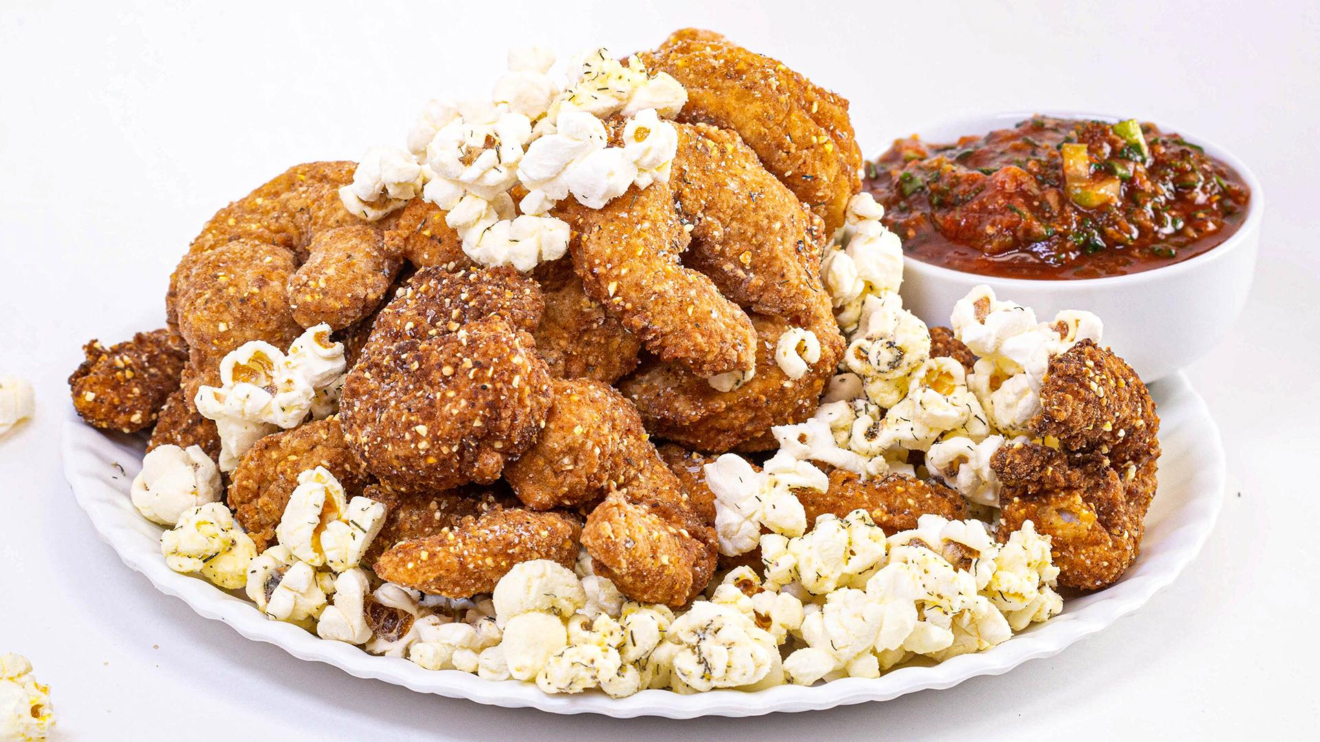 Old Bay Popcorn Shrimp With White Cheddar Popcorn Recipe Rachael Ray Show
