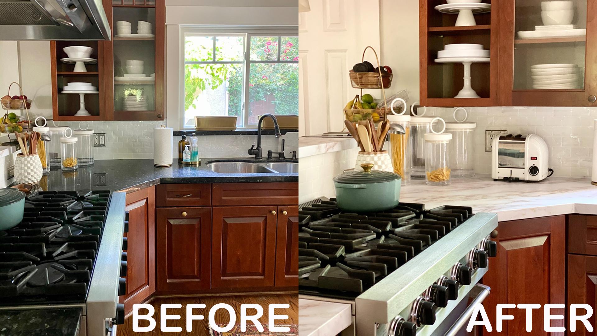 Rental Kitchen Makeover Kelsey Nixon S Peel And Stick Backsplash Countertop Tricks Rachael Ray Show
